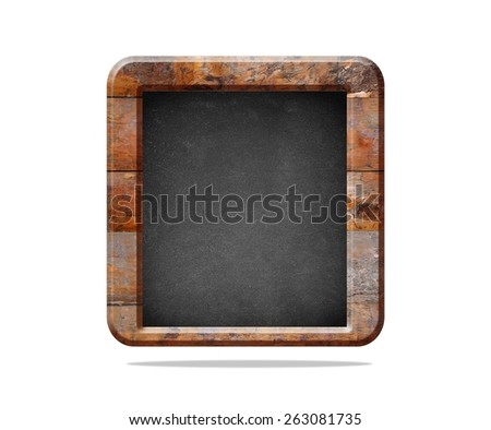 Wooden blackboard with clear space to write and isolated on white background - stock photo