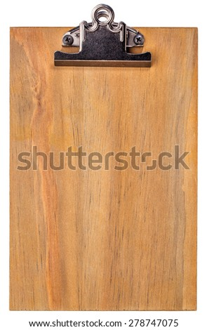 wooden blank clipboard isolated on white with clipping paths - stock photo