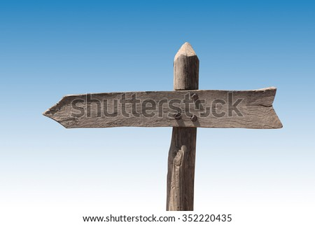 Wooden blank sign post pointing left with gradient background.
