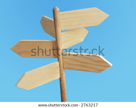 Wooden blank signpost indicating six directions of the world over blue background - stock photo