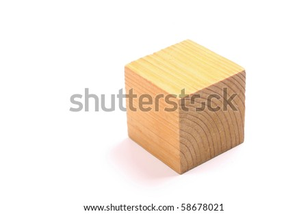 Wooden block against a white background