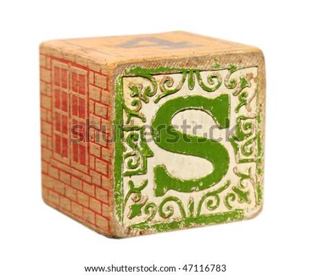 "Wooden block ""S"" - stock photo"