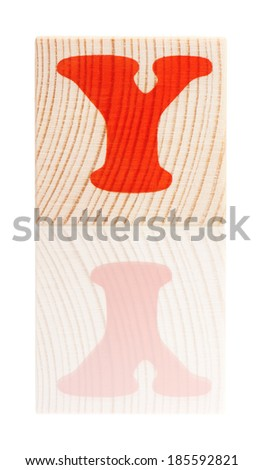 Wooden block with letter Y, isolated on white background - stock photo
