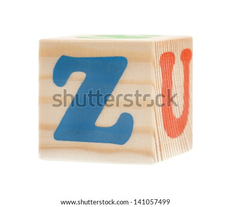 Wooden block with letter Z, isolated on white background - stock photo