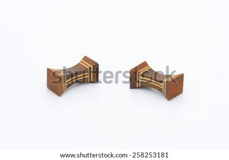 wooden blocks for chinese chopsticks on white background
