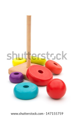 wooden blocks for pyramid with clipping path