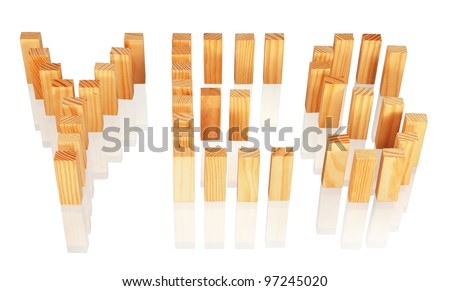 """Wooden blocks forming the word """"YES"""", isolated on white. - stock photo"""
