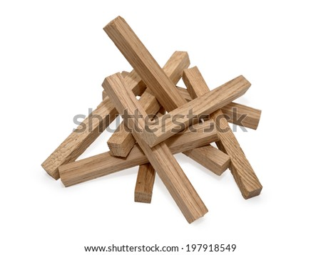 Wooden blocks isolated on white background with shadow - stock photo