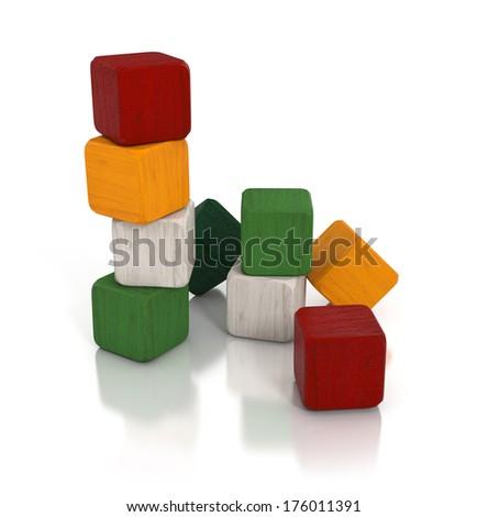 wooden blocks, kids toys isolated on white background. 3d illustration - stock photo