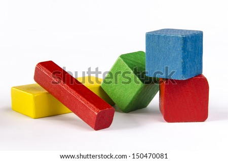 Wooden blocks of different color isolated on white background