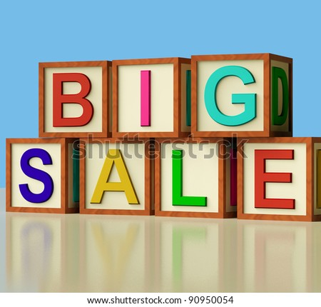Wooden Blocks Spelling Big Sale As Symbol for Discounts And Promotions