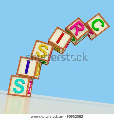 Wooden Blocks Spelling Crisis Falling Over As Symbol for Emergency And Panic - stock photo