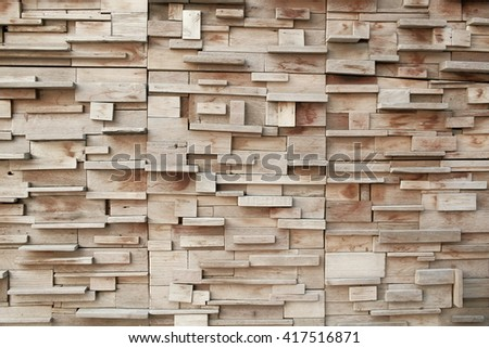 Wooden blocks stacked as wall,vintage color toned.