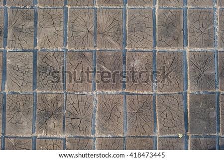 wooden blocks timber pavement texture background. - stock photo
