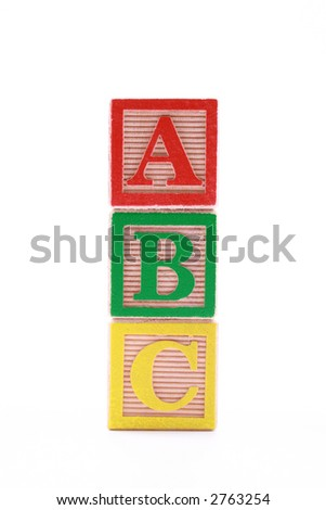 wooden blocks with ABC letters isolated on white