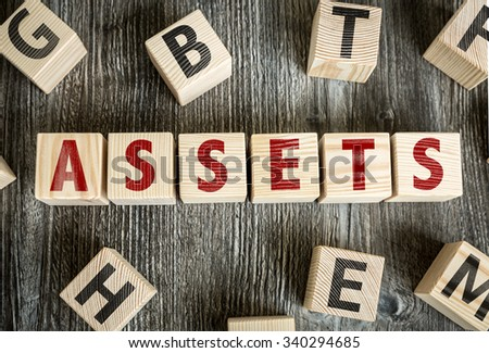 Wooden Blocks with the text: Assets - stock photo