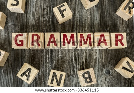 Wooden Blocks with the text: Grammar - stock photo