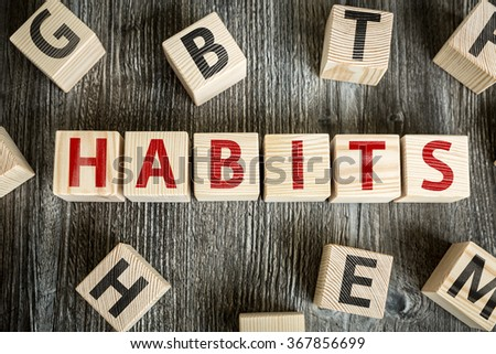 Wooden Blocks with the text: Habits - stock photo