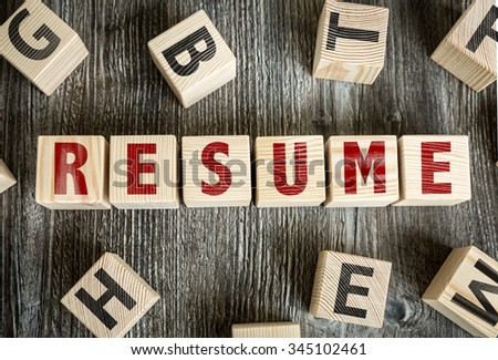 Wooden Blocks with the text: Resume - stock photo