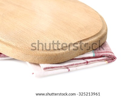 wooden Board for cutting on napkin on white isolated background - stock photo