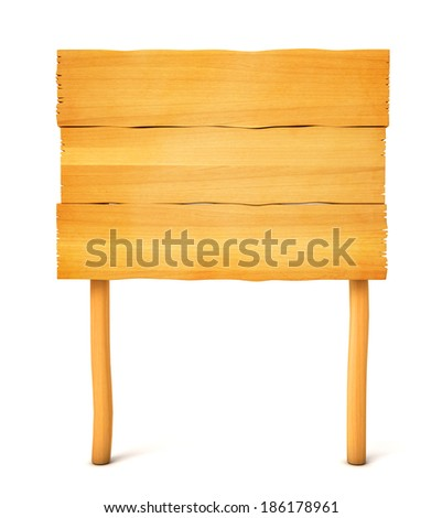 Wooden board. Isolated on white background. 3d render - stock photo