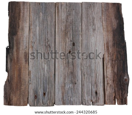 wooden board old planks isolated white background - stock photo