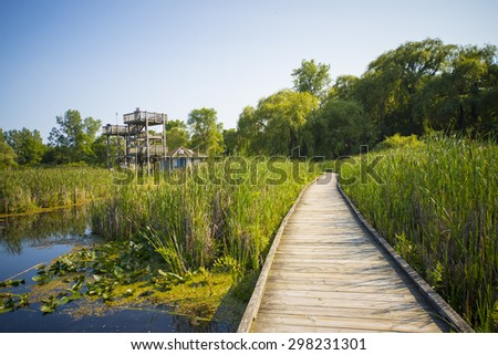 Wooden board walk and lookout on Pelee point conservation area, Ontario, Canada - stock photo