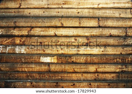 Wooden boards background with scratch