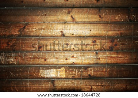 Wooden boards background with scratch - stock photo