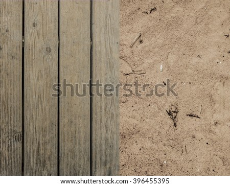Wooden boards with sand, Wooden Board, Old Floor Striped Planks, Vintage White Timber or Grunge Table - stock photo