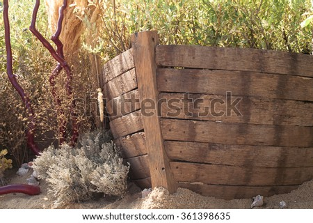 Wooden Boat design solutions for garden decoration - stock photo