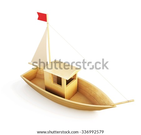Wooden boat model isolated over a white background. 3d illustration. - stock photo