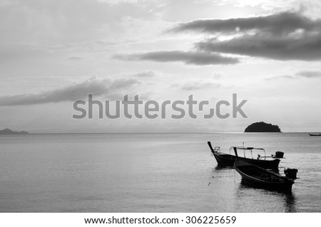 Wooden boats at isolated in black and white
