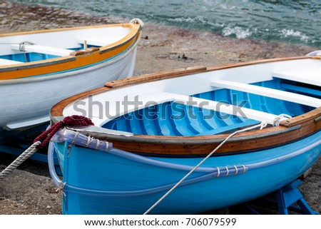 Wooden boats on the shores of Capri.