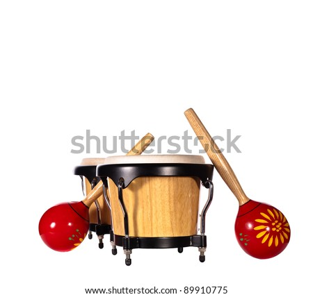 Wooden bongo drums & pair of red maracas isolated on white background. - stock photo