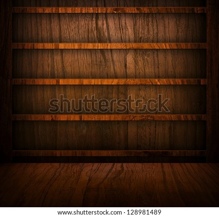 wooden bookshelf background - stock photo