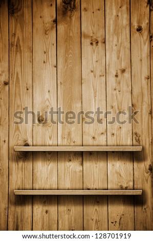 Wooden bookshelf. Empty shelf. - stock photo