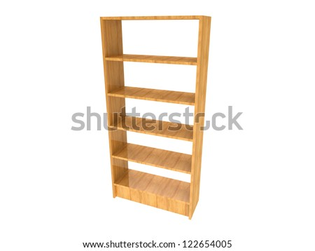 Wooden Bookshelf isolated on a white background - stock photo