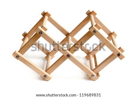 wooden bottle rack, isolated on white background - stock photo