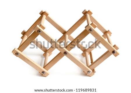 wooden bottle rack, isolated on white background - stock photo