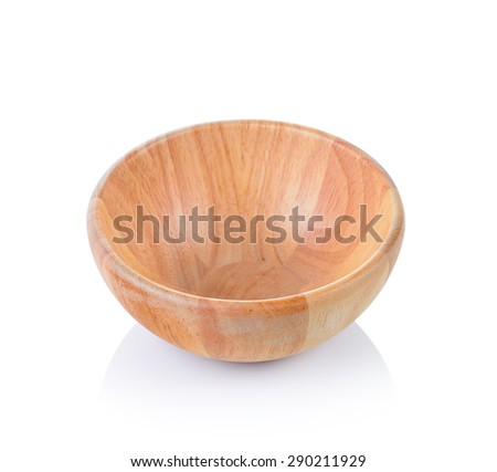 Wooden bowl isolated on white background - stock photo