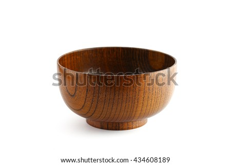 wooden bowl isolated on white background with clipping path - stock photo