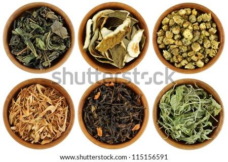 Wooden bowl of dried Herbal Tea : Mulberry, Kaffir Lime Peel, Chrysanthemum, Lemongrass, Chinese Jasmine, Stevia Tea isolated on white background - stock photo