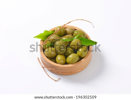 wooden bowl of olives tapas - stock photo