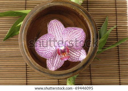 Wooden bowl of orchid on bamboo stick straw mat