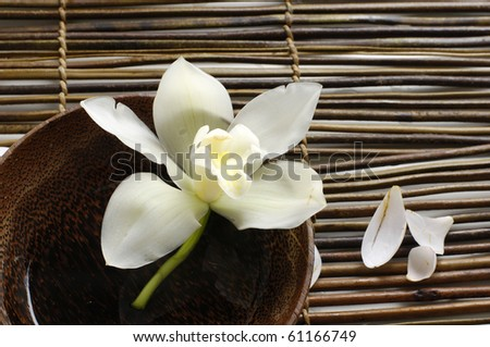 Wooden bowl of orchid, petal on bamboo mat