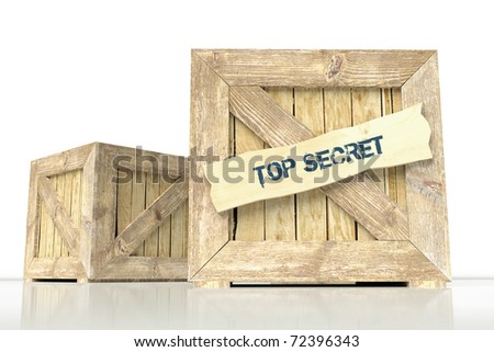 "Wooden box and label ""top secret"" - stock photo"