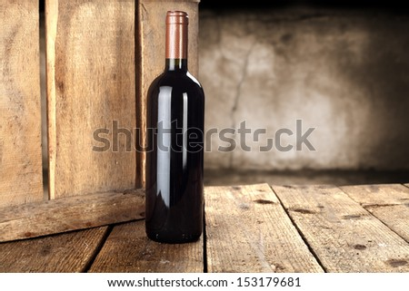 wooden box and wine  - stock photo
