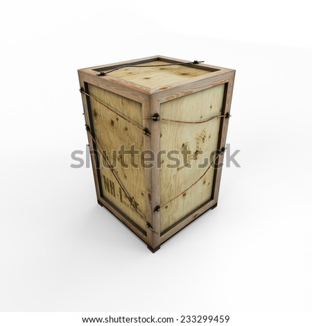 Wooden box container isolated on white background - stock photo