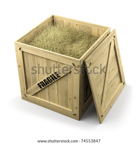 Wooden box container isolated on white background